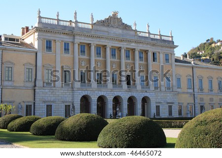 Villa Olmo, the most important building in Como, Italy It was built between 1782 and 1796 and it was inaugurated by Napoleon in 1797. - stock photo