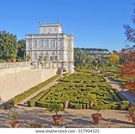 villa pamphili and italian garden in rome,italy - stock photo