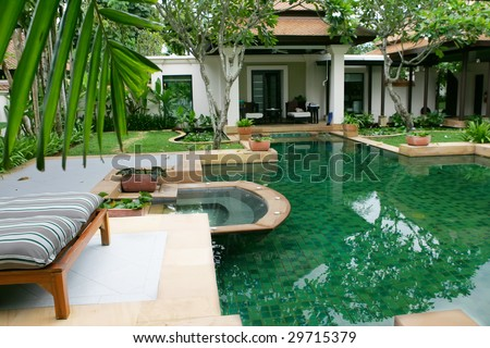 villa pool Thailand - stock photo