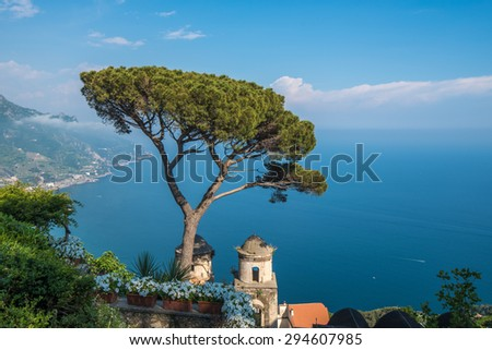 Villa Rufolo in Ravello town, Amalfi coast, Italy - stock photo