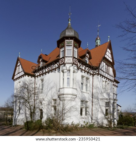 Villa Stahmer in Georgsmarienhuette, built in 1900 in the half-timbering style serves the city, of Georgsmarienhuette as a museum today, Lower Saxony, Germany - stock photo