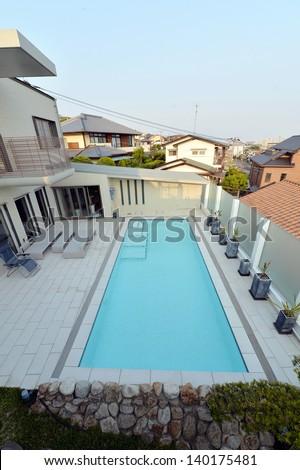 Villa with swimming pool -3 - stock photo
