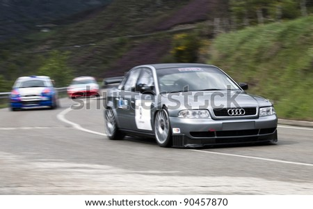 VILLABLINO, SPAIN - MAY 7 : Spanish driver Jesus Fernandez  Audi A4 ST, races in Subida a Leitariegos, on May 7, 2011 in Villablino, Spain