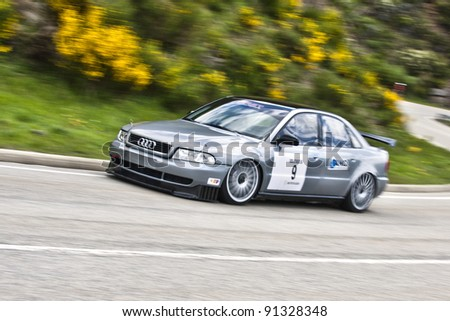 VILLABLINO, SPAIN - MAY 7: Spanish driver Jesus Fernandez whit Audi A4 ST, races in Subida a Leitariegos, on May 7, 2011 in Villablino, Spain