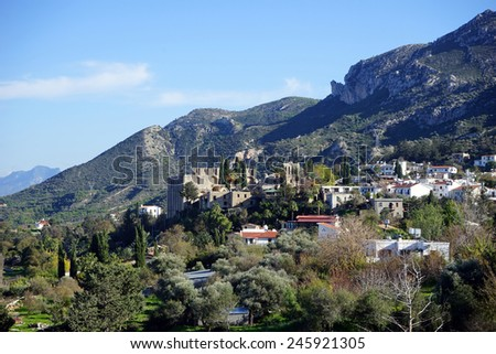 Village and Bellapais monastery near Girne, North Cyprus                                - stock photo