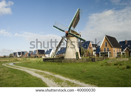 Village and the windmill