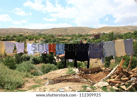 village and wash - stock photo