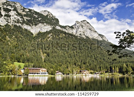 Village at the Hintersee, Berchtesgadener Land, Bavaria, Germany