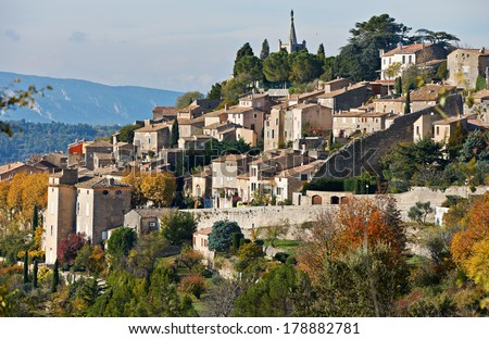 Village Bonnieux in autumn season, typical Provence rural scene from South France, Luberon region - stock photo