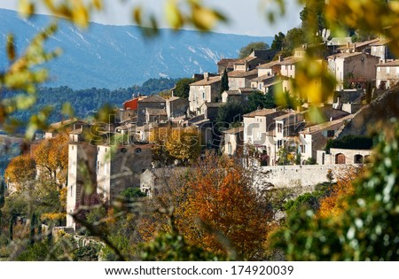 Village Bonniex in autumn season, typical Provence rural scene from South France, Luberon region - stock photo