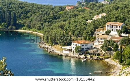 Village by the sea at Corfu island, Greece - stock photo