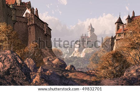 Village Castle In Medieval Times - stock photo