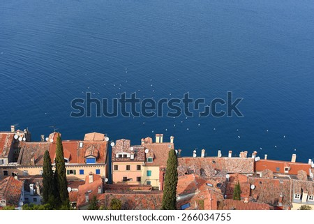 Village from top of the hill in Mediterranean region, Croatia.  - stock photo