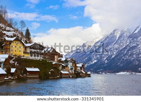 Village Hallstatt on the lake Hallstatter at winter - Salzburg Austria - stock photo