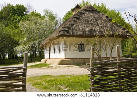 Village house in Ukraine, recorded in outdoors museum of wooden architecture in Pirogovo, near Kiev.