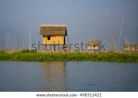 Village house on Inle lake standing on stilt and made from bamboo
