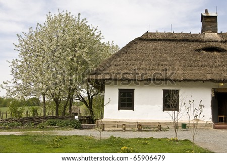 Village house, recorded in outdoors museum of national architecture in Pirogovo, near Kiev, capital of Ukraine.
