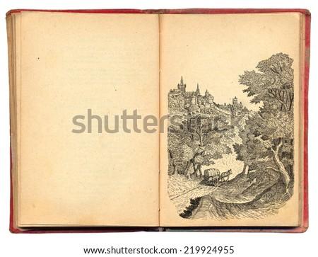 Village illustration - stock photo