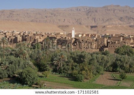 Village in an oasis of date palms, vegetable gardens in front, arid mountains in the background. Dades valley, Morocco. Typical architecture with loam houses.