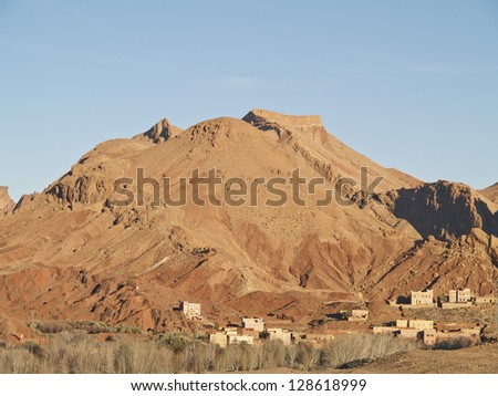 Village in Atlas mountains. There are a lot of villages around Atlas. - stock photo