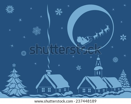 Village in calm Christmas night with Santa Claus and reindeer on Moon background, hand drawing bicolour illustration - stock photo