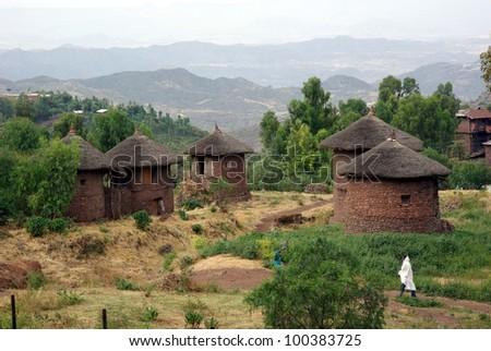Village in Ethiopia - stock photo