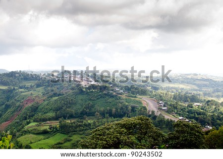 Village in Ethiopia on a hill - stock photo