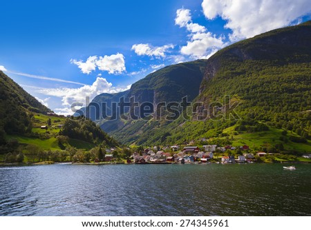 Village in Fjord Naeroyfjord - Norway - nature and travel background - stock photo
