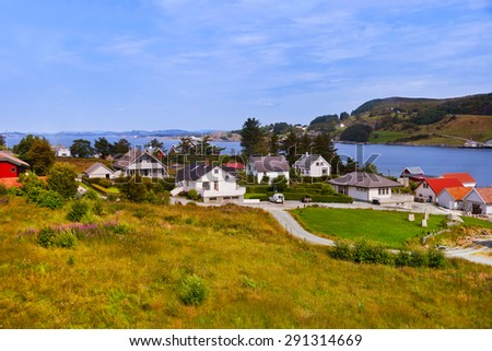 Village in Fjord - Norway - nature and travel background - stock photo
