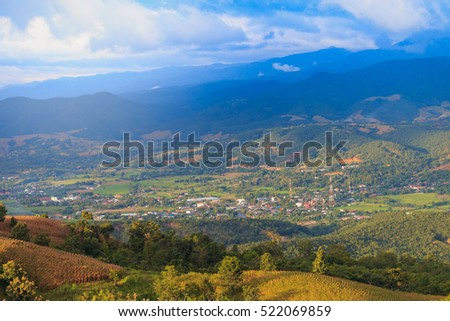 Village in mountain , Mae Cham City,Chiang Mai Province, Thailand. (Soft Focus)