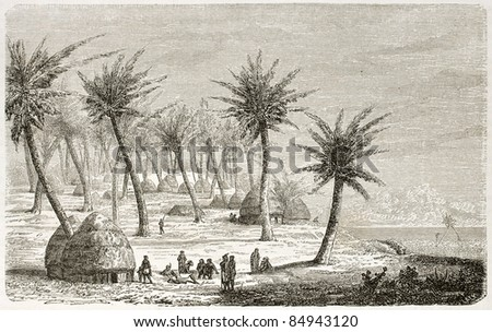 Village in Mrima region, old view, Eastern Africa. Created by Lavielle after Burton, published on Le Tour du Monde, Paris, 1860 - stock photo