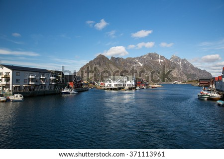Village in Norway seen from a boat.