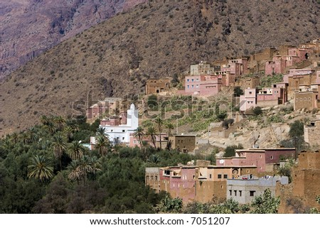 Village in the Atlas mountain - stock photo