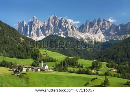 Village in the European Alps - stock photo