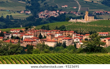 Village in the famous wine-making region of Beaujolais in France. - stock photo