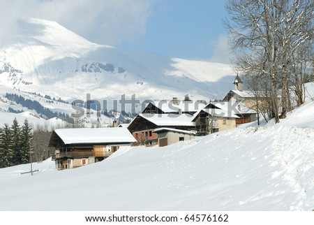 village in the mountain in winter