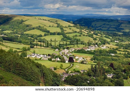 Village in Welsh valley - stock photo