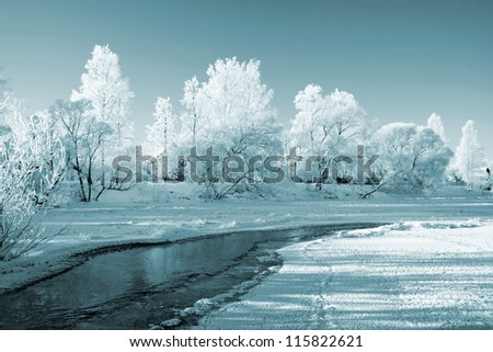 village is on coast to freeze river - stock photo