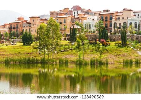 Village lagoon on daylight - stock photo