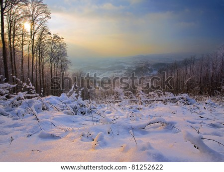 Village life in Serbia, winter season, special places of the Jelica mountain surroundings. - stock photo