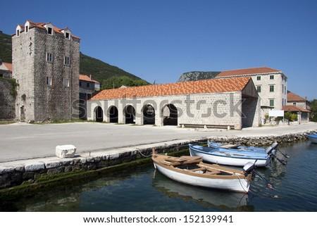 Village Mali Ston near Dubrovnik on Peljesac peninsula in Croatia - stock photo