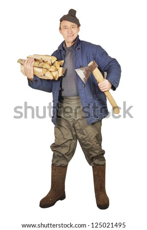 Village man with an axe and cordwoods