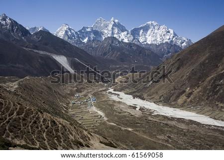 Village, Nepalese landscape - stock photo