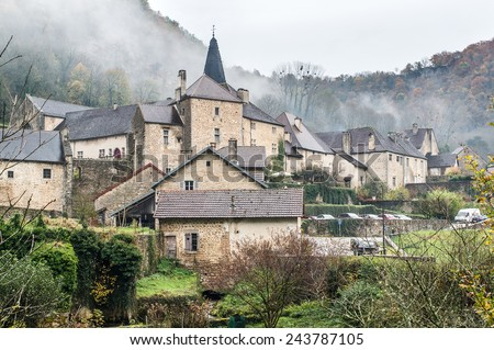 Village of Baume-les-Messieurs in the Jura in France - stock photo