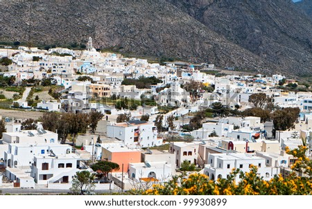 Village of Emporio at Santorini island in the Cyclades, Greece - stock photo