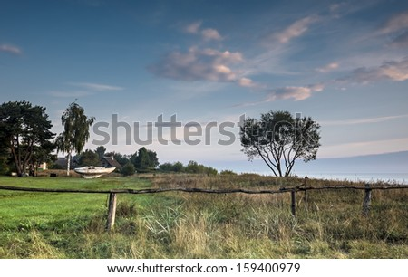 Village of fishermen at the early morning, Baltic Sea, Latvia, Europe - stock photo