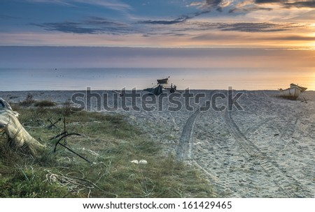 Village of fishermen on the sandy beach of the Baltic Sea, Latvia, Europe - stock photo