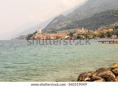 Village of Malcesine at Lake Garda, Italy - stock photo