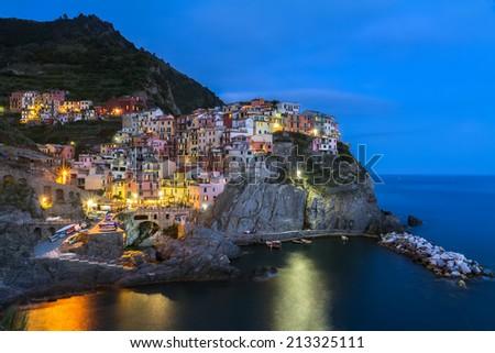 Village of Manarola at night, Cinque Terre, Italy - stock photo