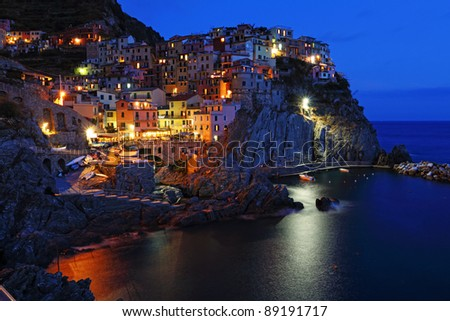 Village of Manarola at night, Cinque Terre, Liguria, Italy - stock photo